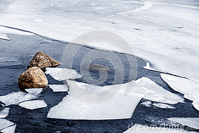 Icy shore in winter