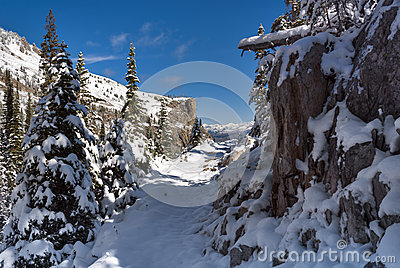 Idaho mountain trail covered with snow