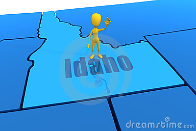 Idaho state outline with yellow stick figure