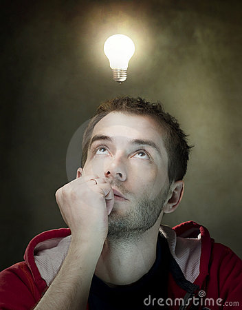 Free Idea Bulb Above Mans Head Royalty Free Stock Photos - 19064618