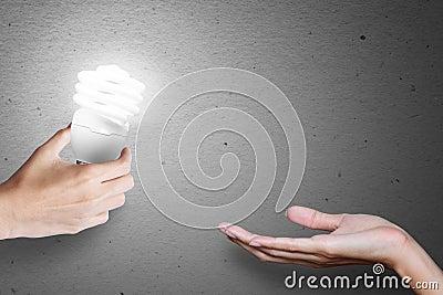Idea bulb, transfer idea from hand to hand.