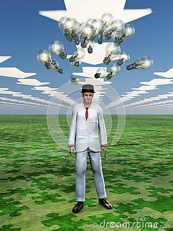 Idea bulbs hover above mans head