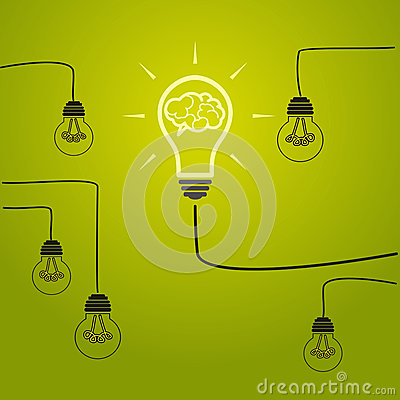 Idea concept - incandescent bulbs on the wires Vector Illustration