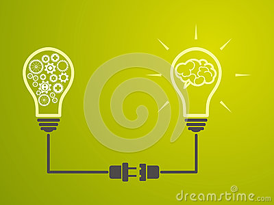 Idea concept - Incandescent lamps are interconnected Vector Illustration