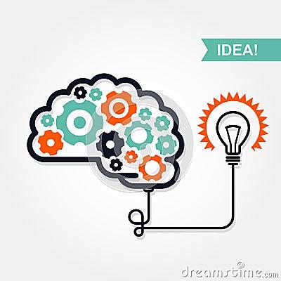 ... di invenzione - cervello con la ruota di ingranaggio e la lampadina