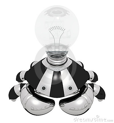 Idea Generator Robot with Light Bulb