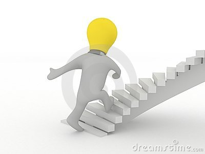 Idea man walking up stairs