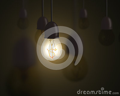Idea is money concept, lighting bulb with money symbol inside an