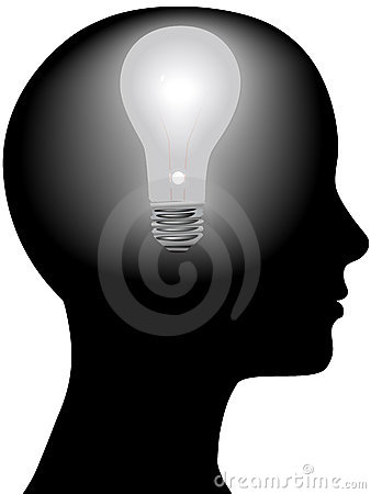 Free Idea Woman Mind Light Bulb In Silhouette Head Royalty Free Stock Photo - 4792295