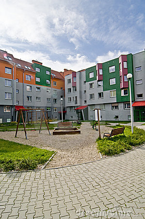 Ideal council estate, with playground for kids