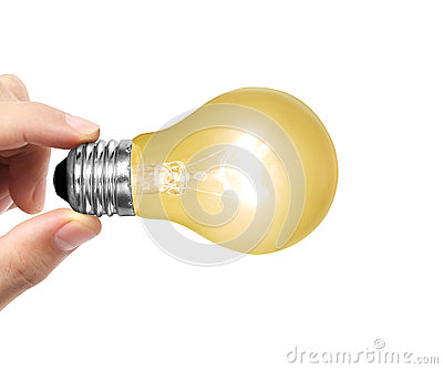 Light bulb on a hand