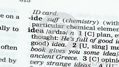 Ideewoord in Engelse woordenschat, startontwikkeling, revolutionaire ontdekking stock videobeelden