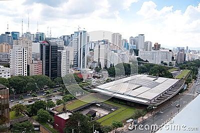 Ideia aérea do centro cultural de Sao Paulo
