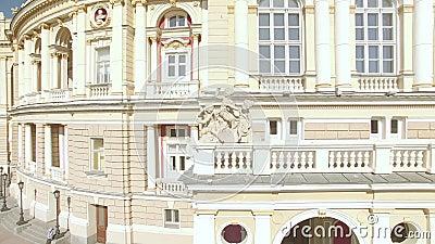 Ideia aérea do teatro de Odessa National Academic Opera e de bailado video estoque