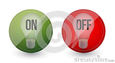 Ideia da ampola sobre e fora