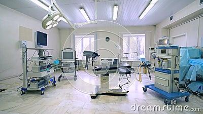A ideia geral de uma sala médica gynecological encheu-se com o equipamento do hospital vídeos de arquivo