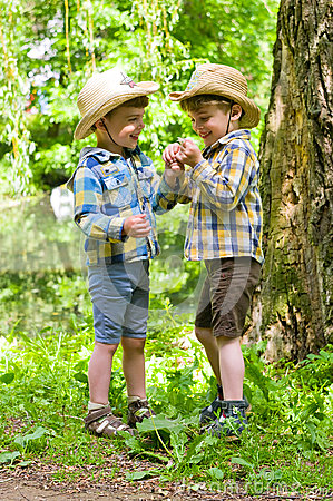 Free Identical Twins In Cowboy Hats Stock Photos - 56066963