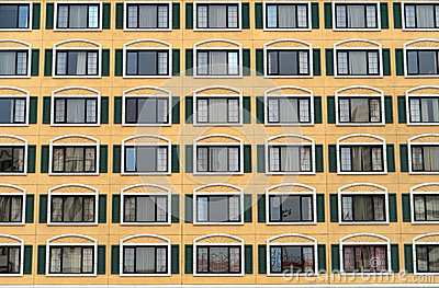 Identical windows in a large building