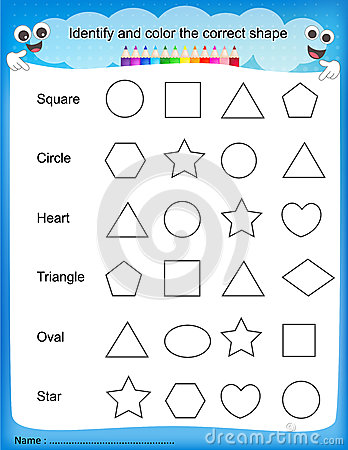 math worksheet : worksheet identify  count basic shapes stock vector  image  : Identifying Shapes Worksheets Kindergarten