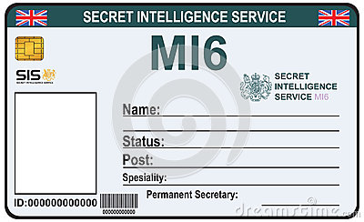 Identity a secret agent of mi 6 stock vector image 61383573 for Spy id card template