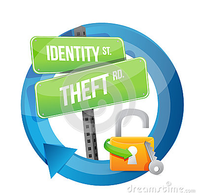 Identity theft road sign illustration design