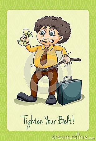 Free Idiom Tighten Your Belt Stock Image - 60196931
