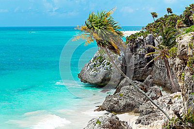 Idyllic beach of Caribbean Sea in Playacar