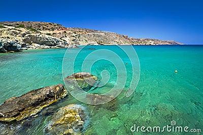Idyllic blue lagoon of Vai beach