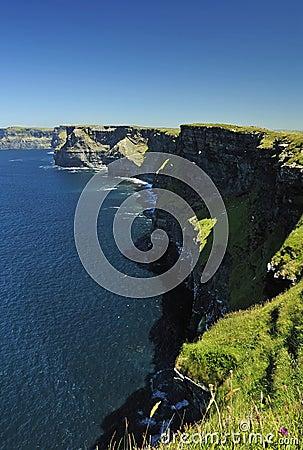 Idyllic cliffs of Moher in summer light
