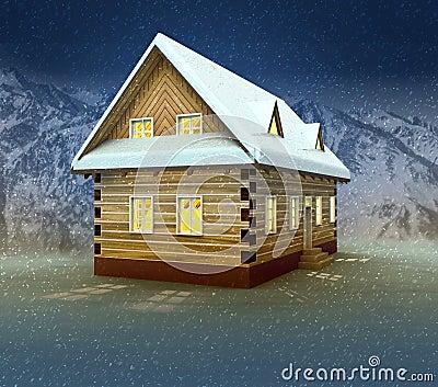 Idyllic cottage and window lighting at night snowfall