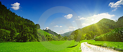 Idyllic countryside panoramic view