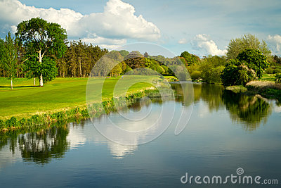 Idyllic golf course at the river
