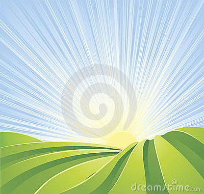 Free Idyllic Green Fields With Sun Rays Blue Sky Stock Images - 18329974