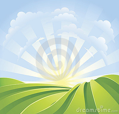 Free Idyllic Green Fields With Sunshine Rays Stock Images - 17788454