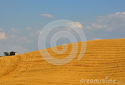 Idyllic landscape in Tuscany with a house on a sunny day , Italy