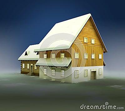 Idyllic hut and window lighting at night