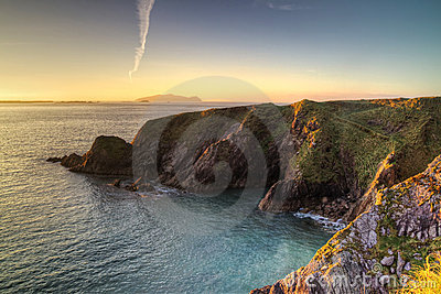 Idyllic irish coast at sunset