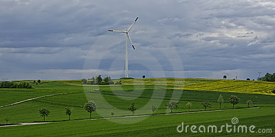 Idyllic Landscape with Modern Windmill