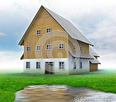 Idyllic mountain cottage with green grass and poun