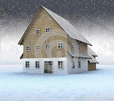 Idyllic mountain cottage at night snowfall
