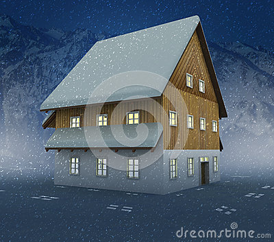 Idyllic mountain cottage and window lighting at night snowfall