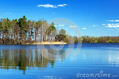 Idyllic scenery of the lake