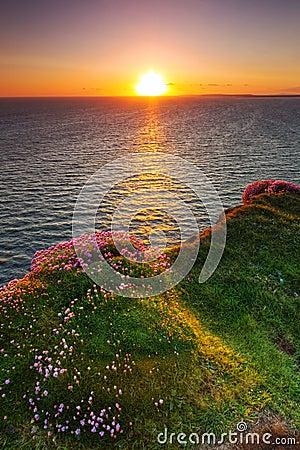 Idyllic sunset at Atlantic ocean