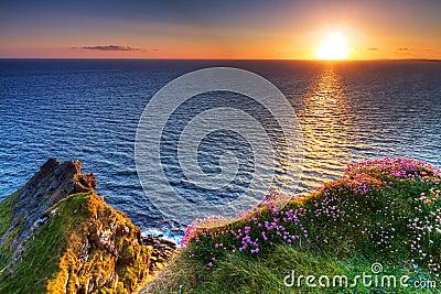 Idyllic sunset on Irish Cliffs of Moher