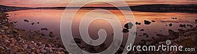Idyllic sunset over sea water