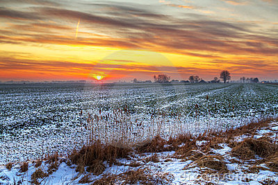 Idyllic sunset over snowy meadow