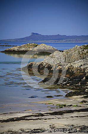 Idyllic turquoise sea, beach and Island of Eigg