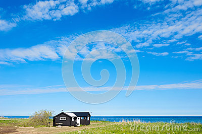 Wooden cottage at the east coast of the island Oland, Sweden