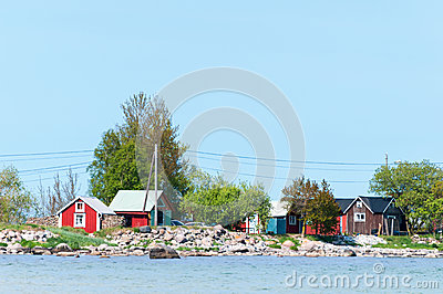 Wooden cottages at the coast of the island Öland