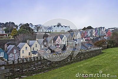 Ierse huizen in Cobh, Cork van de Provincie, Ierland.